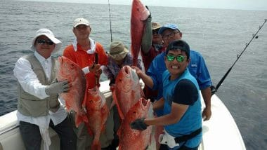 Team Big Fish SGI Offshore Charter Anglers with Red Snappers